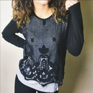 Democracy | Gray Black Lace Overlay Top Shirt M
